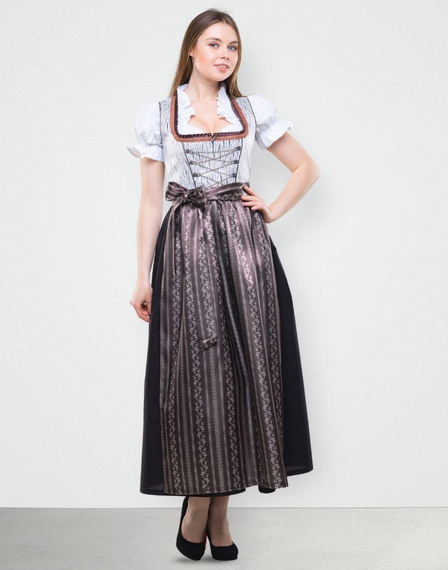 """Dirndl Lang """"Barbara"""" in Grau Braun"""