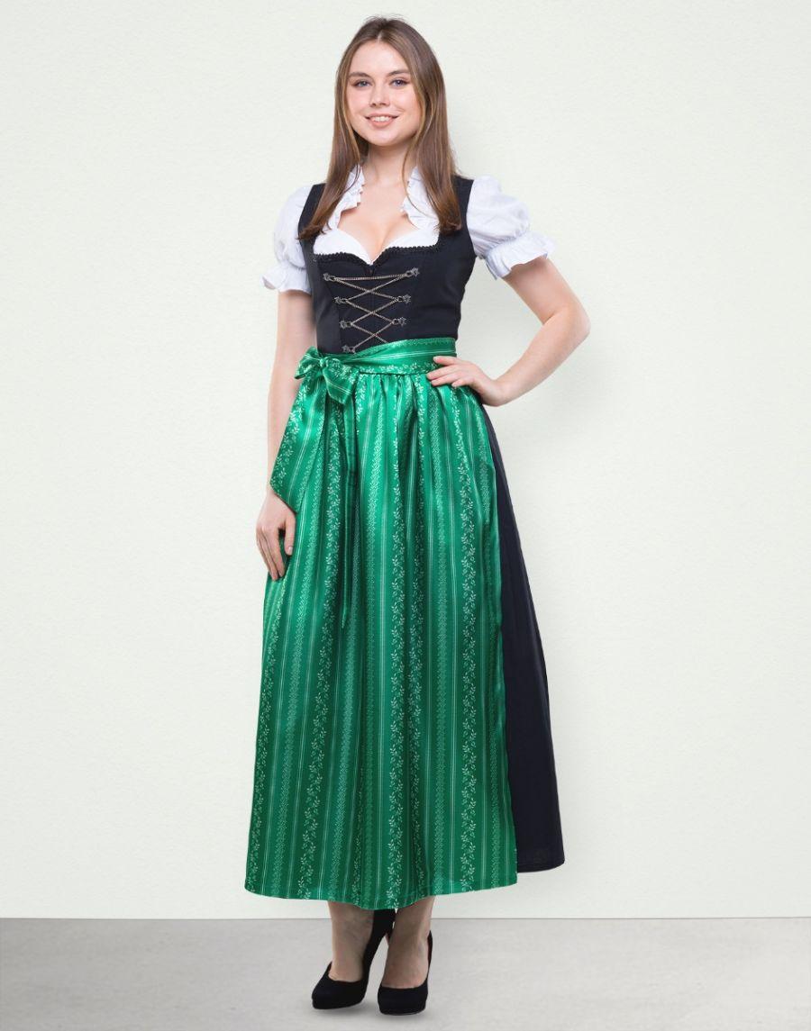 """Dirndl Lang """"Sabrina"""" in Grün Schwarz"""