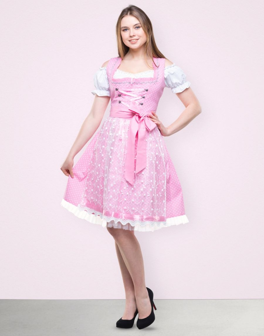 "Dirndl Midi ""Rose"" in Rosa"
